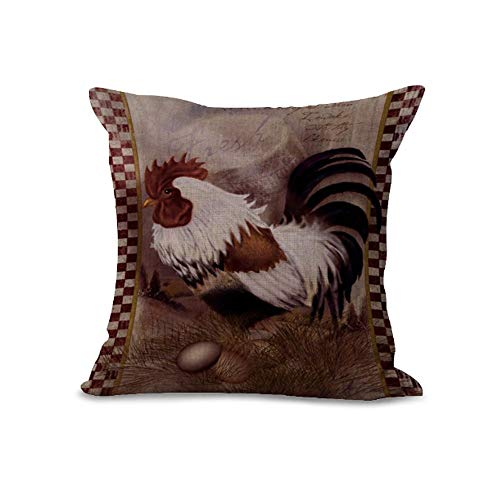 Cushion Covers Pads/Grey Retro Style Rooster Coffee Chicken Farm Fresh Polyester Cushion Cover for Sofa Home Shop Bar Club Car Decor MY-A1088-01,Cushion Size:20 x 20 inches Farm Fresh Rooster