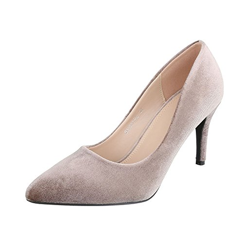 Ital-Design High Heel Damenschuhe Plateau Pfennig-/Stilettoabsatz High Heels Pumps Beige