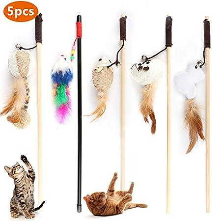 Emooqi Katzenspielzeug Interaktives Katzenspielzeug Feder 5 Stück Katzenspielzeug Mit Katzentunnel Jingle Bell Spielzeug…