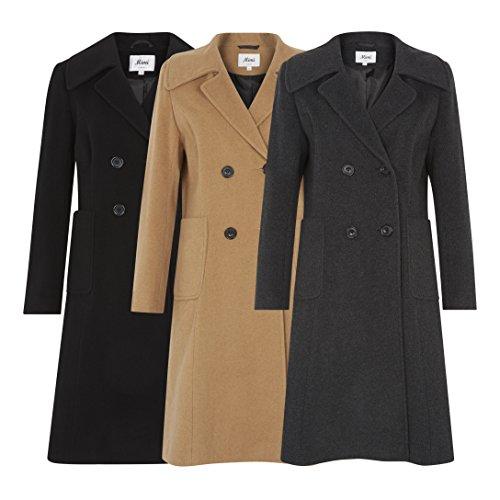 La Creme - Damen Winterjacke Damen Wollmischung Zweireihig Mittellang Mantel Anthrazit
