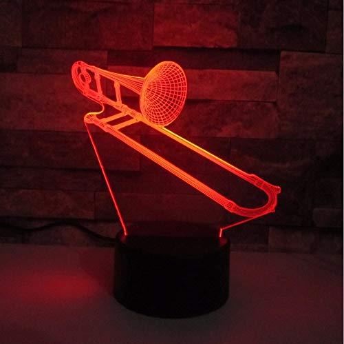 Nachtlicht 3D Posaune Lampe Led 7 Farbwechsel Musical Schreibtischlampe Indoor Home Raumdekoration Acryl Kinderzimmer Schlafzimmer Kind Geschenk