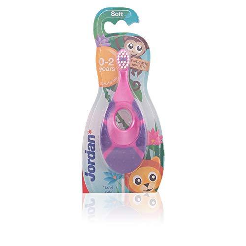 Jordan 6220100 Baby Zahnbürste Step 1 mit Beißring, 0-2 Jahre, extra soft (Farbe zufällig, 1 Stück)