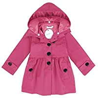 Arshiner Little Girls Double-Breasted Trench Jacket Coat Dress Windbreaker Outwear (110(Age for 4-5Y), Rose Red)