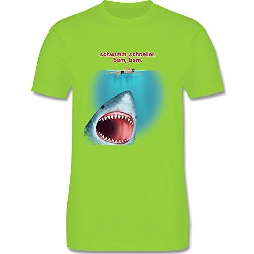 Wassersport - Schwimm schneller, bam, bam. - Herren Premium T-Shirt Hellgrün