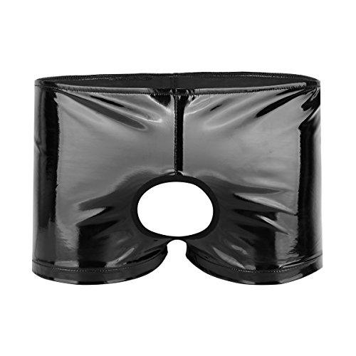 YiZYiF Herren Boxershorts Wetlook Boxer Briefs Schwarz Leder Shorts Unterwäsche Lack-optik Hose mit Penisloch Gr. M-XL Schwarz X-Large