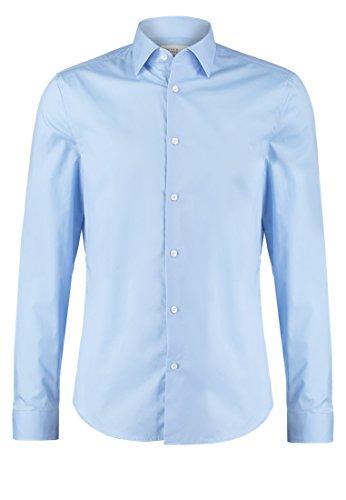Pier one camicia da uomo a maniche lunghe in tinta unita azzura, taglia xl