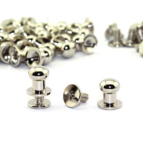 LQ Industrie Round Head Button Ohrstecker Schlitz Schrauben 8x 10x 10mm Chicago Schrauben Nagel Stift für Heimwerker Leder Craft silber -