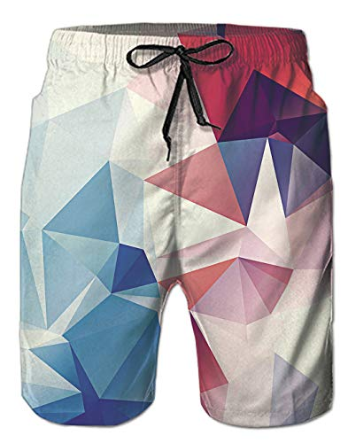 Badeshorts Herren Schwimmshorts Sommer Badehose 3D Geometric Muster Qiuck Dry Shorts Kurze Schnelltrocknend Sport Surf Shorts XXL