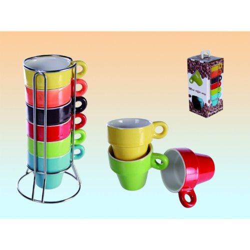 SalesFever 6er Set Espresso Tassen im Ständer + Geschenkbox Regenbogenfarbig