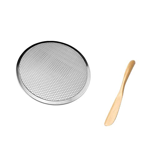 NewbieBoom 6 '' Aluminium Pizza Backblech Flatscreen Wire Mesh Lebensmittel Crisper mit Schaber Pizzaschneider,1