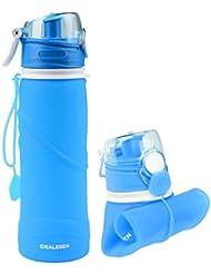 Idealeben 750ml Plegable Portátil Botella de Agua de Silicona a Prueba de Fugas Deporte Botella Aprobado por la FDA de Grado Médico Uso para Deportes/Actividades al Aire Libre/Campamentos/Viajes/Picnic /Calentadores de Mano(Azúl)