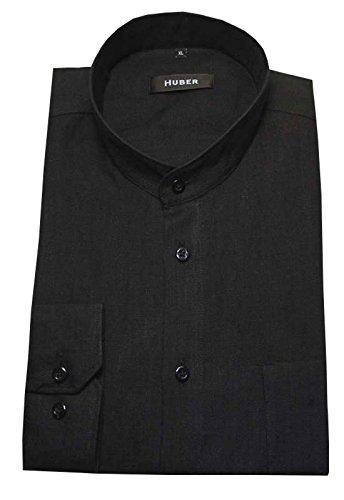 Stehkragen Leinen Hemd schwarz HUBER 0050 bequeme Passform Größe S bis 6XL Schwarz