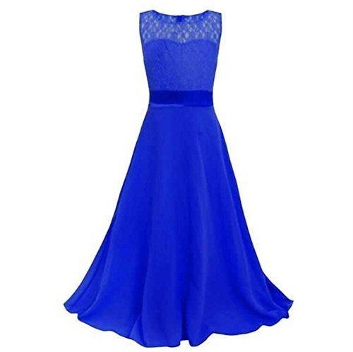 Live It Style It Mädchen lang Spitzenkleid Chiffon Abendkleid Bodenlang Kleid Hochzeit Brautjungfer Blume (9-10 Jahre/ Herstellergroße :  160, Blau)