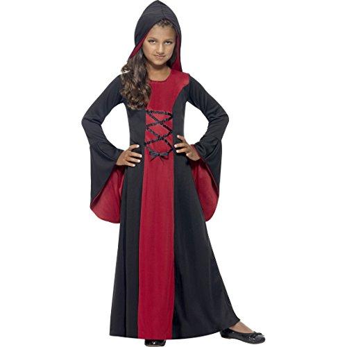 NET TOYS Mittelalter Kostüm Kinder Gothic Kleid mit Kapuze M, 7 - 9 Jahre, 130 - 143 cm Kapuzenkleid Mädchen Vampir Kostüm Kind