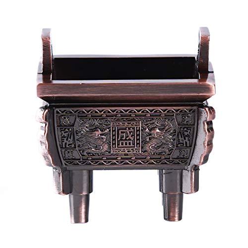 Pinhan Retro Carve Brûleur D'encens Trépied Titulaire Encensoir Style Chinois Cuivre Mini Vintage Ding Sheng Conception Bâton En Bronze, Bronze Antique -