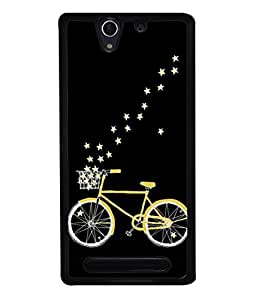 PrintVisa Designer Back Case Cover for Sony Xperia C3 Dual :: Sony Xperia C3 Dual D2502 (Cycle With Stars In Cool Black)