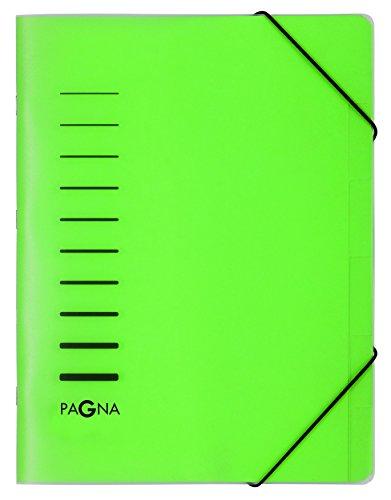 Pagna 40056-03 Ordnungsmappe 6-teilig aus PP, Eckspanngummi, grün farbiger Registerkarton, 1 Stück