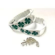 2pcs Replacement White with Green Irish Lucky Clovers Bands & Metal Clasps For Samsung Galaxy Gear Fit Bracelet St.Patrics Day Lucky Clovers Smart Wristband Wireless Activity Bracelet Sport Bracelet Sport Arm Band Armband + Nice Crystals Feather Brooch