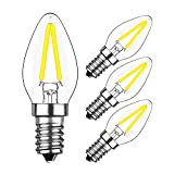 Yiun 2W E14 LED Glühfaden C7 Nachtglühlampe, 6000K Tageslicht Weiß 200LM, E12 Kerzenständer Basislampe C7 Mini Torpedoform, 15W Glühfaden Ersatz, 360 ° Abstrahlwinkel, AC 230V, nicht dimmbar, 4er Pack