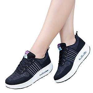 TianWlio Sneaker Damen Draussen Mesh Schnürschuh Sportschuhe Atmungsaktive Soft Bottom Schuhe Turnschuhe Black Purple Pink 35-40