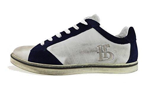 BOTTICELLI sneakers uomo bianco blu pelle camoscio AH752 (44 EU)