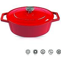 Cyril Lignac Casserola / Hierro fundido de alta calidad / Ø 30 cm / 4,7L / adecuado para todos los tipos de fogones incluyendo BBQ y la inducción / Lavavajillas / Agarres ergonómicos / Rojo