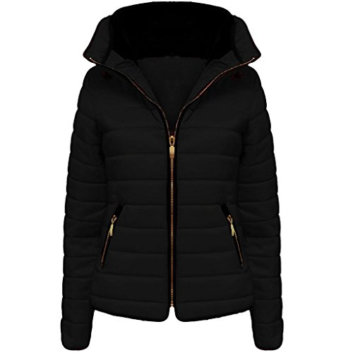 New Ladies Womens Quilted Jacket Puffer Bubble Fur Collar Winter Jacket Coat Top Black L/12