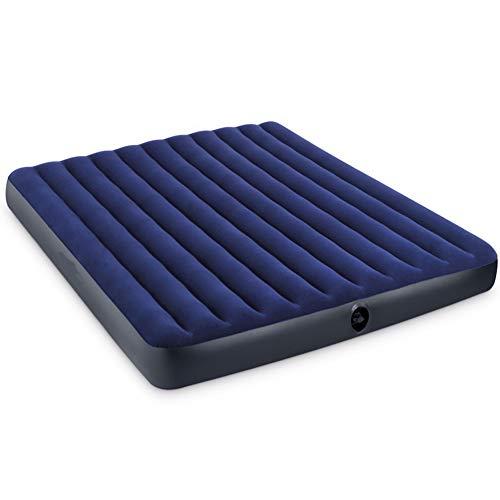 Twin Queen Size Camping Luftmatratze Aufblasbare Bett Mit Auto Haushalt Elektrische Pumpe, PVC Beflockung, Für Zuhause Oder Outdoor,Blue,200x180x22cm
