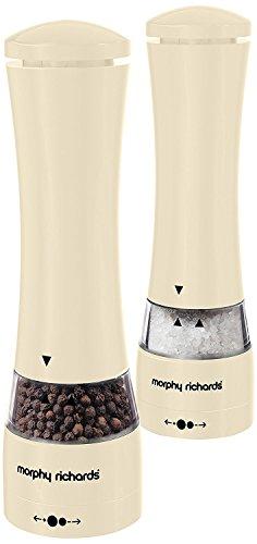 Morphy Richards Elektronische Salz- und Pfeffermühle, Edelstahl, 5,5x 5,5x 22cm, cremefarben (Shell-salz-und Pfefferstreuer)