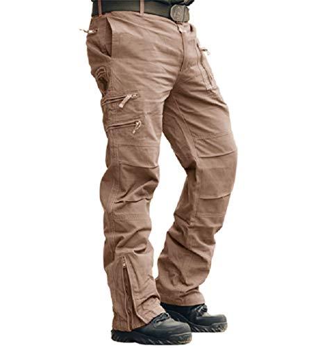 MAGCOMSEN Herren Hose Sommer Militär Hose Radhose Baumwolle Hose Große Gesäßtaschen Unifarben Hose Urban Outdoor Regular Fit Freizeithose für Wandern Taktik Khaki S