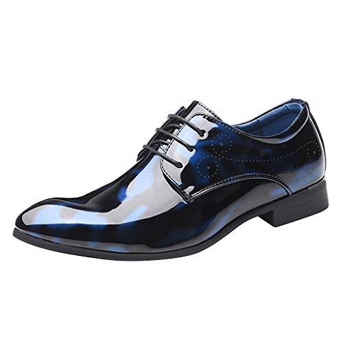 FNKDOR Schuhe Herren Derby Lederschuhe Hochzeit Bankett Elegant Anzugsschuhe Lackleder Gelee Businessschuhe Lace-up Berufsschuhe(37-46) Blau 44 EU