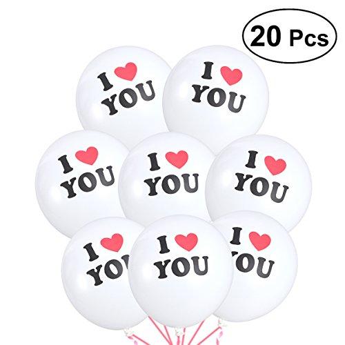 TOYMYTOY 20 stücke Ich Liebe Dich Gedruckt Latex Ballons Party Geburtstag Hochzeit Feier Dekoration (Weiß) (Liebe Ich Dich-ballon)