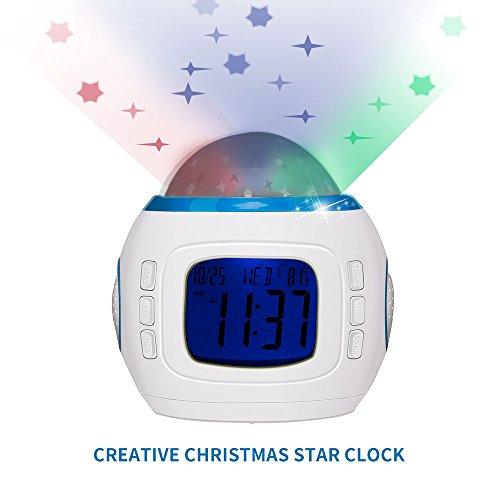 Projektionswecker, Fozela LED Digitalwecker Sternenhimmel Projektor Nachtlicht Wecker Alarm Uhr Clock Kalender Calendar Thermometer Projektor Uhr,Kalender mit Musik
