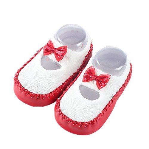 Auxma Neugeborene Kleinkind Säugling Baby Mädchen Jungen Cartoon Anti-Rutsch Socken Slipper Schuhe Stiefel Badeschuhe Krabbel Hausschuhe für 0-6 6-12 12-18 Monate (12cm/6-12 M, Rot)