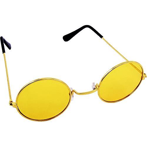 German Trendseller® Brille John Lennon - Gelb- Deluxe - ┃ Hippie Flower Power ┃ Farbige Gläser ┃ Ultra Narzissen Gelb ┃ Peace Brille