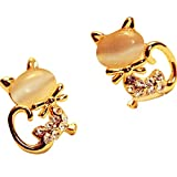 LQQSTORE ☸ Ohrringe Damen Ohrstecker Korean Fashion Cute Cat Stein Kristall Strass Frauen Ohrschmuck Valentinstag Weihnachten Neujahr Geschenk Einfache Earrings Mädchen Hypoallergen Ohrhänger
