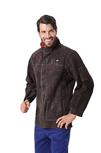 Mufly Schweißer Jacke aus Rindleder Welding Jacket Schweißerjacke Arbeitsjacke Schweißerschutzjacke (Feuerfeste Jacke)