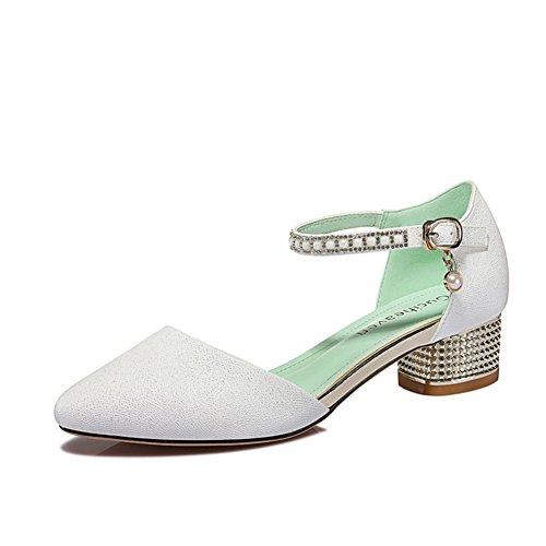 Santals de dames/Chaussures slim sauvages/Chaussures talons chunky minimaliste blanc A