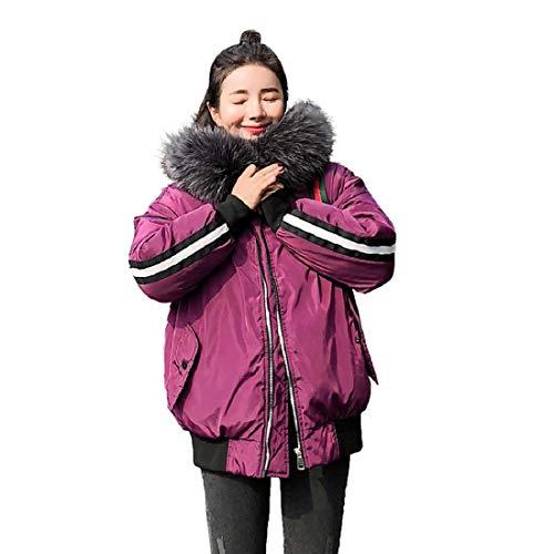 (PAOLIAN Damen Mantel Daunenjacke Outwear Winter Warm Daunenmantel Fell Kapuze Parka Mantel Lange Strickjacke Jacken Baumwolle Oberbekleidung)