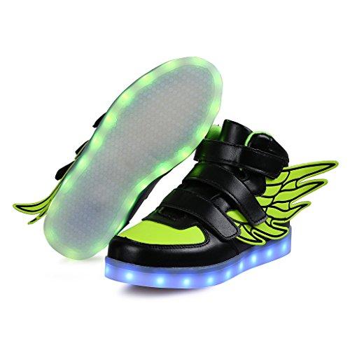 SAGUARO® Garçon Fille LED Chaussures 7 Couleu Enfants USB Charge Chaussures de Sports Baskets Haut Noir
