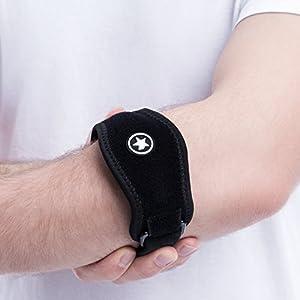 Amestars Epicondylitis Spange mit Kompressionskissen – Schmerzlinderung bei Golfer & Tennisarm (Medizinische Einschätzung) – Wasserfestes Bandage bei Tennisarm – Premium-Qualität Tennisarm Bandage