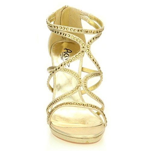 Femmes Dames Soir Casual Mariage Party Haute Talon Stiletto Diamante Peep Toe De Mariée Sandale Chaussures Taille (Or, Argent, Noir) Or
