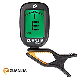 Zuanjia Guitar Tuner Clip On Chromatic The Original - 360° Large Full Color Display Electronic Digital Tuners for Acoustic and Electric Guitars, Banjo, Ukulele, Violin, Bass and Wind Instruments