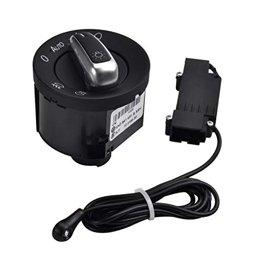 Dastrues Interrupteur d'éclairage de Voiture avec détecteur de lumière chromée 5ND941431B pour T5 Golf4 Jetta MK4 Bora Passat