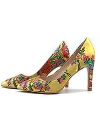 Jacquard Pure Silk Fabric Women Pumps 2017 New Design Yellow High Heels Dress Pump Shoes Embroidered Stilettos