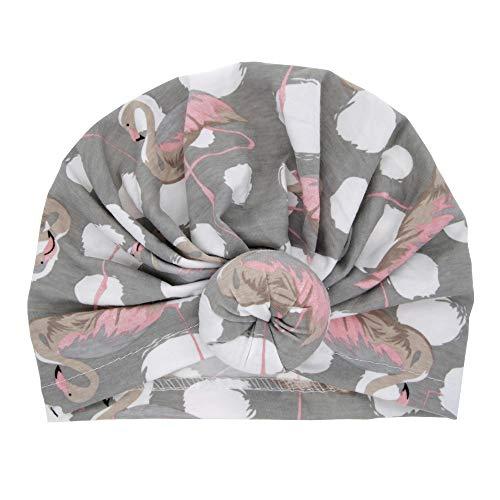 uBabamama_Hat Mütze für Kinder im Alter von 3–18 Monaten, modischer Druck, Knoten, Turban-Mütze, grau, Einheitsgröße
