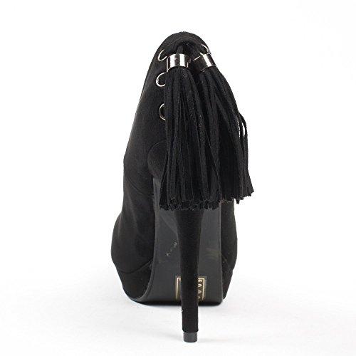 Ideal Shoes - Escarpins effet daim avec lacet à franges à l'arrière Maliane Noir
