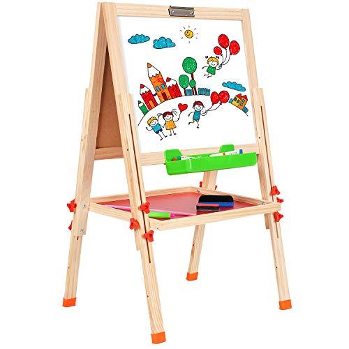 BATTOP Staffelei Hölzern Kinder Zweiseitig Höhenverstellbar Zeichnung Staffelei Spieltafel für Kinder mit Magnetischen Alphabeten und Zahlen