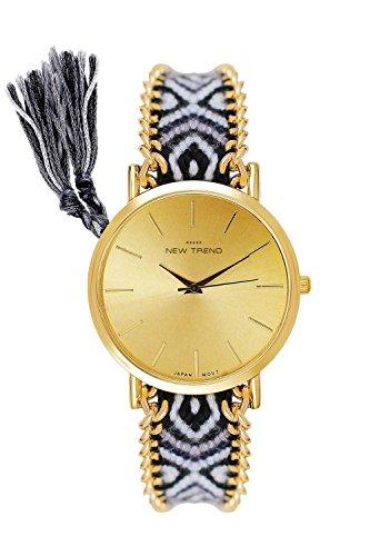 Beach Style Mujer Reloj De Pulsera Colores y turquesa rosa rojo azul marrón verde negro gris oro reloj de pulsera reloj mujer hippie Festival accesorio boho pulsera de la amistad trenzado plástico pulsera Verano Playa, gris