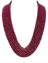 PANAASHE - RAJASTHANI Classic Onyx 7 Layer Dark Ruby Semi Precious Gemstone Necklace for Women